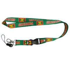 "GRENADA COUNTRY FLAG LANYARD KEYCHAIN PASSHOLDER NECKSTRAP .. CLASP AT THE END .. 20"" INCHES LONG .. HIGH QUALITY .. NEW"