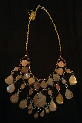 Tribal Lapis Necklace Oval Teardrops w/Round Center
