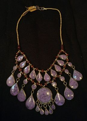 Tribal Purple Lapis Necklace Teardrops w/Round Center