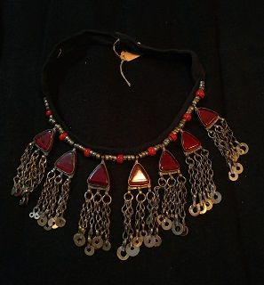 Tribal Red Triangle Lapis dangle Necklace