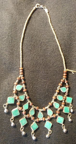 Tribal Aqua Lapis Necklace Teardrops and Squares
