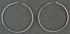 Large White Gold Patterned Hoops