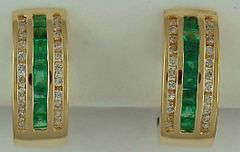 1ctgw Emerald and Diamond Half Hoop Earrings