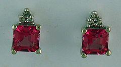 Pink Stone and Diamond Earrings