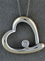 Heart Pendant on a Chain with a 1/25ct Diamond