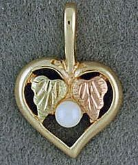 Back Hills Gold Heart and Pearl Pendant