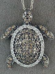 1/6ctw Diamond Turtle Pendant on a Fine Link Chain