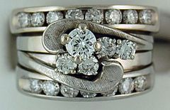 1-1/4ctw Diamond Double Band Wedding and Engagement Set