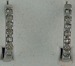 1/4ctw Round and Baguette Diamond Hoop Earrings