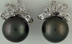 1/4ctdw Diamond and Black Pearl Earrings
