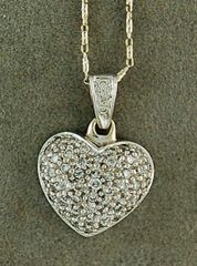 Ladies 1/2ctw Pave Diamond Heart Pendant on a Chain