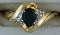 Ladies Two-Tone Diamond and Green Stone Ring