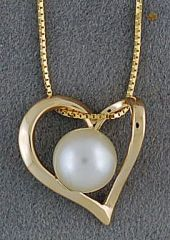 Ladies Heart with a Pearl Pendant on a Boxlink Necklace