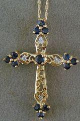 Sapphir and Diamond Cross Pendant on a Chain