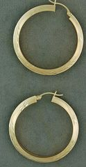 Large Wheat Pattern Hoop Earrings