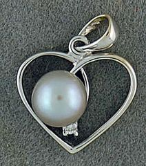 Diamond and Pearl Heart Pendant