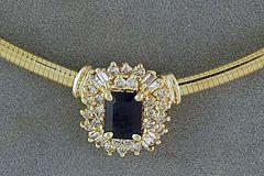 Ladies Blue Sapphire and Diamond Necklace