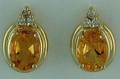 Ladies Diamond and Citrine Stud Earrings