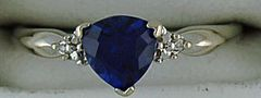 Trillion Cut Blue Stone and Diamond Ring
