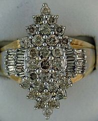 2ctw Two-Tone Diamod Cluster Ring