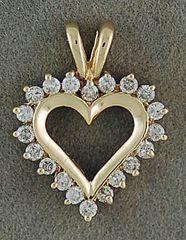 3/8tw Diamond Heart Pendant