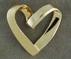 Brushed Finish Floating Heart Pendant