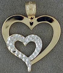 Ladies Two-Tone Double Heart Pendant
