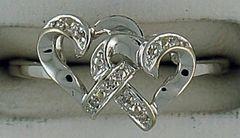 ladies Double Heart Diamond Ring