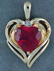 Red Stone and Diamond Heart Pendant