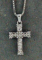 Diamond Cross Pendant on a Boxlink Necklace