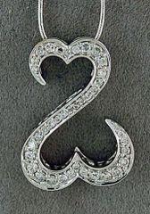 1/2ctw Diamond Open Hearts Pendant on a Snake Chain
