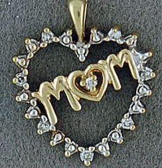 "1/20ctw Diamond Heart ""Mom"" Pendant"
