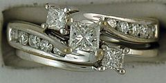 Ladies 9/10ctw Princess and Round Cut Diamond Wedding Set
