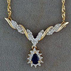 Ladies 1/2ctgw Diamond and Sapphire Necklace