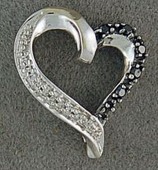 1/10ctw Black and White Diamond Heart Pendant