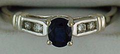 Ladies 1/10ctgw Blue Sapphire and Diamond Ring