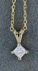 1/10ct Princess Cut Diamond Pendant on a Fine Chain