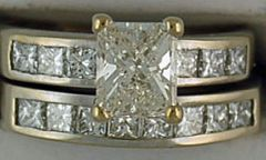 Ladies 2ctw Princess Cut Diamond Wedding and Engagement Set