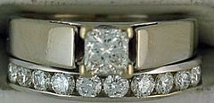 Ladies 3/4ctw Princess and Round Cut Diamond Wedding and Engagement Set