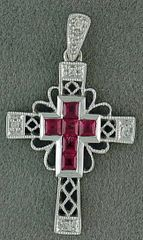 1/3ctgw Diamond and Ruby Cross Pendant