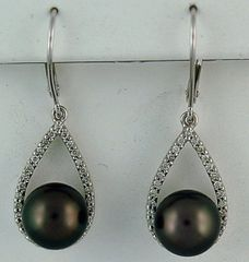 1/2ctdw Black Pearl and Diamond Earrings