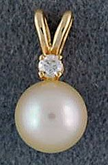 Ladies White Pearl and Diamond Pendant
