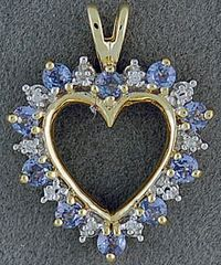 Diamond and Blue Stone Heart Pendant