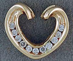 1/6ctw Diamond Heart Slide Pendant