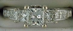 Ladies 1-1/2ctw Diamond Past, Present and Future Engagement Ring