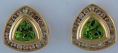 Ladies 1/2ctdw Diamond and Peridot Earrings