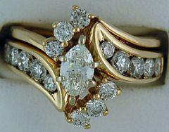 Ladies 1-1/2ctw Diamond Wedding and Engagement Set