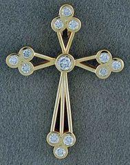 1/4ctw Diamond Open Cross Pendant