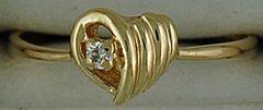 Ladies Heart Ring with 1 Diamond