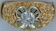 Gentleman's 3/4ct Nugget Style Solitiare Ring